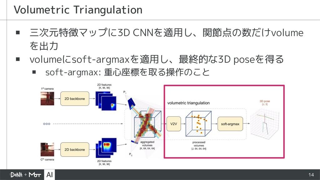 ▪ 三次元特徴マップに3D CNNを適用し、関節点の数だけvolume を出力 ▪ volum...