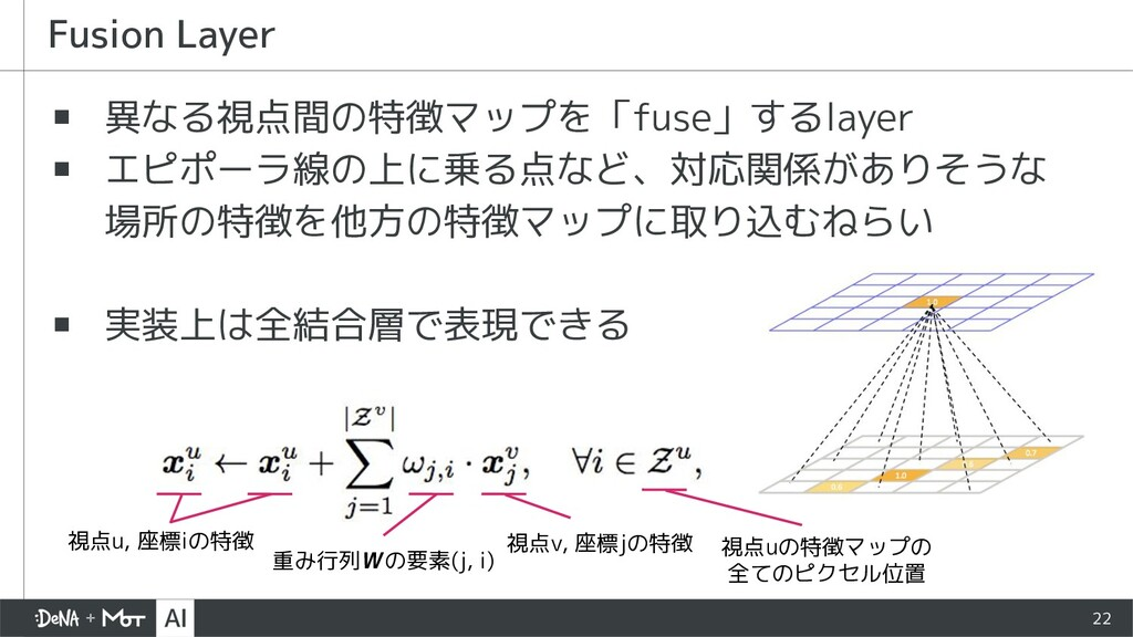▪ 異なる視点間の特徴マップを「fuse」するlayer ▪ エピポーラ線の上に乗る点など、対...