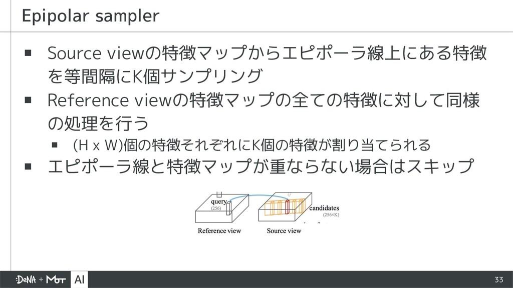 ▪ Source viewの特徴マップからエピポーラ線上にある特徴 を等間隔にK個サンプリング...