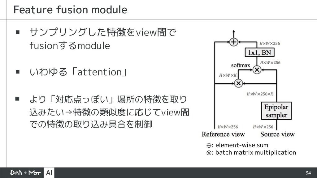 ▪ サンプリングした特徴をview間で fusionするmodule ▪ いわゆる「atten...