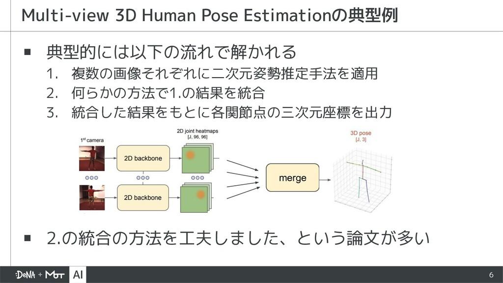 ▪ 典型的には以下の流れで解かれる 1. 複数の画像それぞれに二次元姿勢推定手法を適用 2. ...