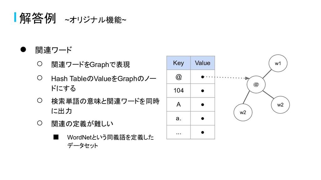 ● 関連ワード ○ 関連ワードをGraphで表現 ○ Hash TableのValueをGra...
