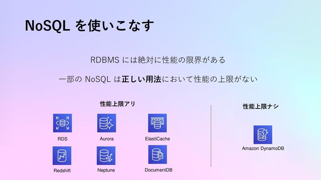 NoSQL を使いこなす RDBMS には絶対に性能の限界がある 一部の NoSQL は正しい...