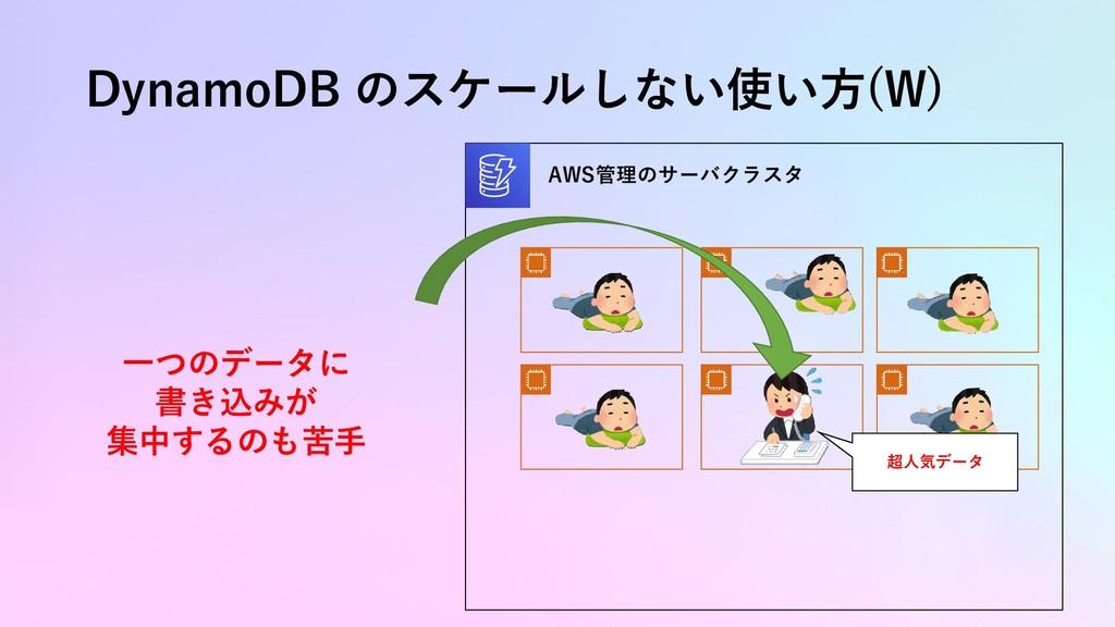 DynamoDB のスケールしない使い方(W) AWS管理のサーバクラスタ 超人気データ 一つ...