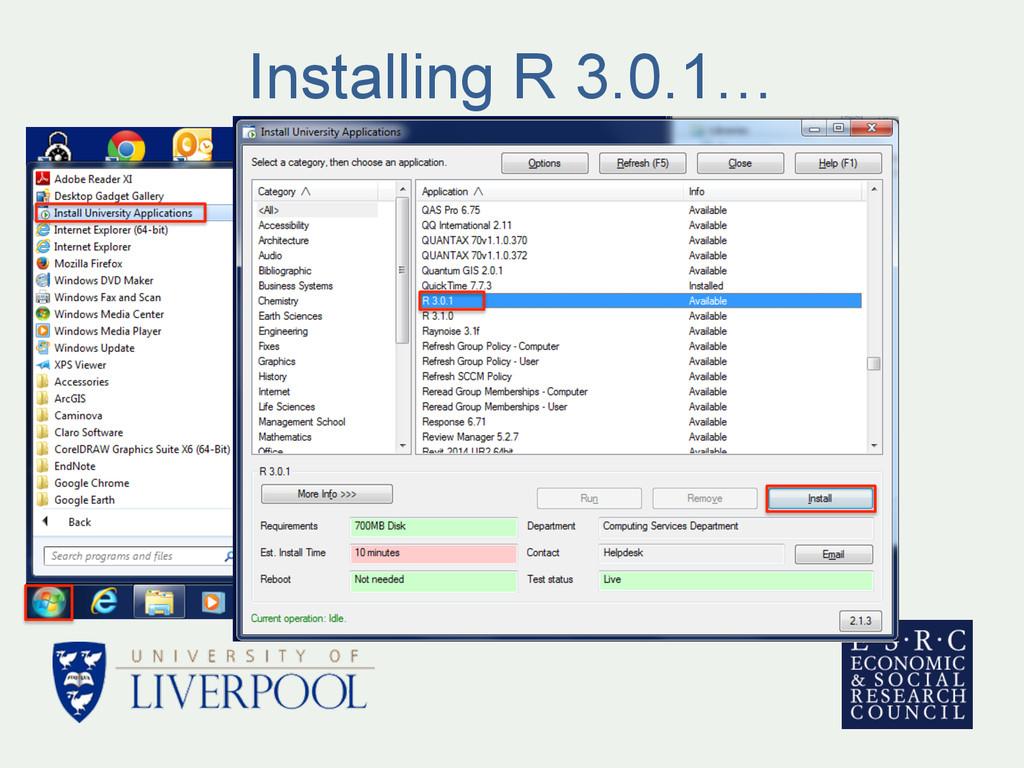 Installing R 3.0.1…