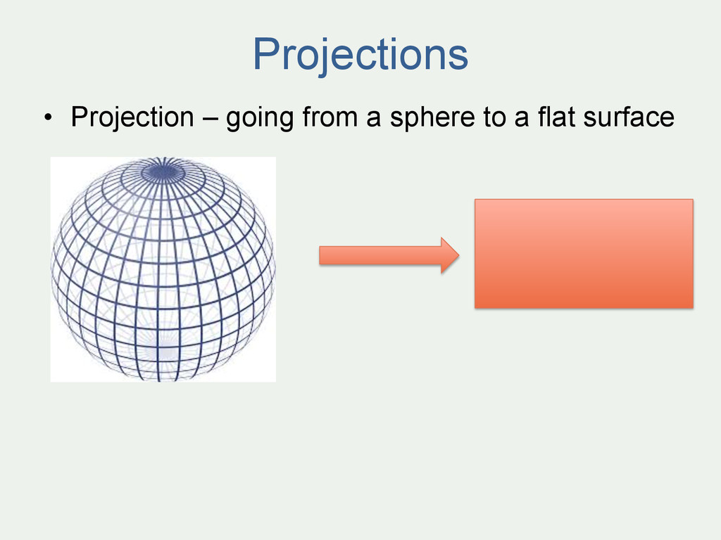 Projections • Projection – going from a sphere...