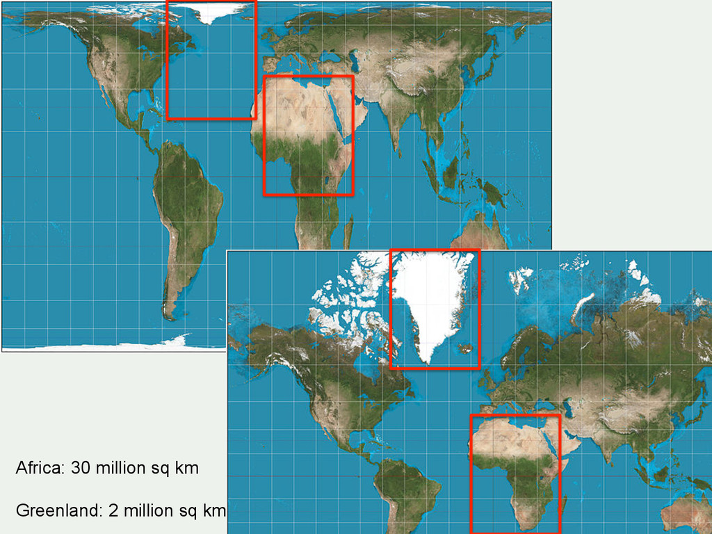 Projections etc. Africa: 30 million sq km Green...