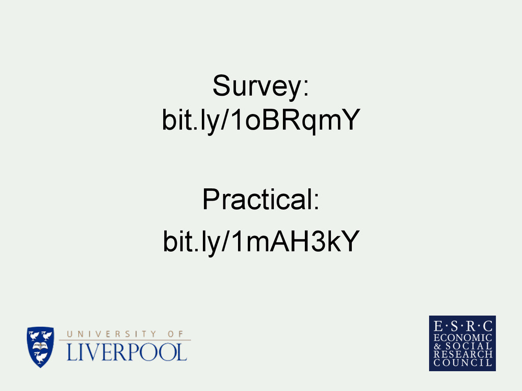 Survey: bit.ly/1oBRqmY Practical: bit.ly/1mAH3kY