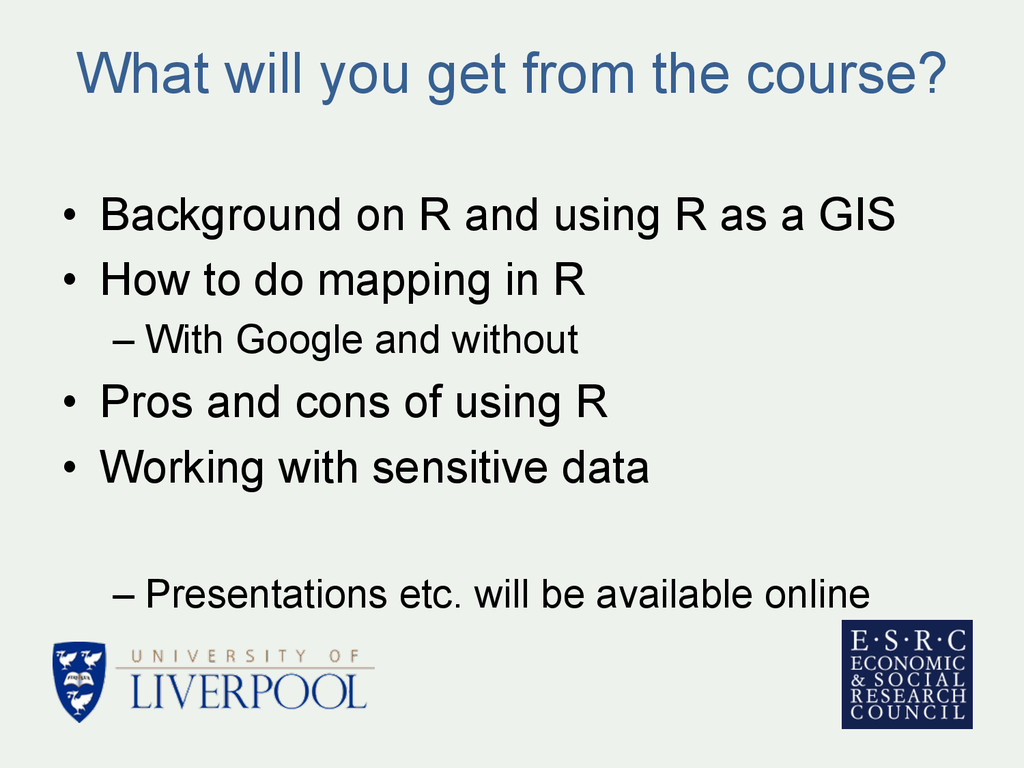What will you get from the course? • Backgroun...