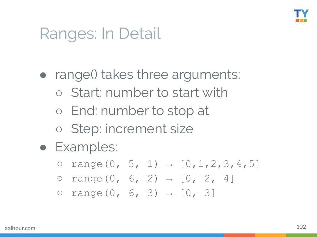 102 ● range() takes three arguments: ○ Start: n...