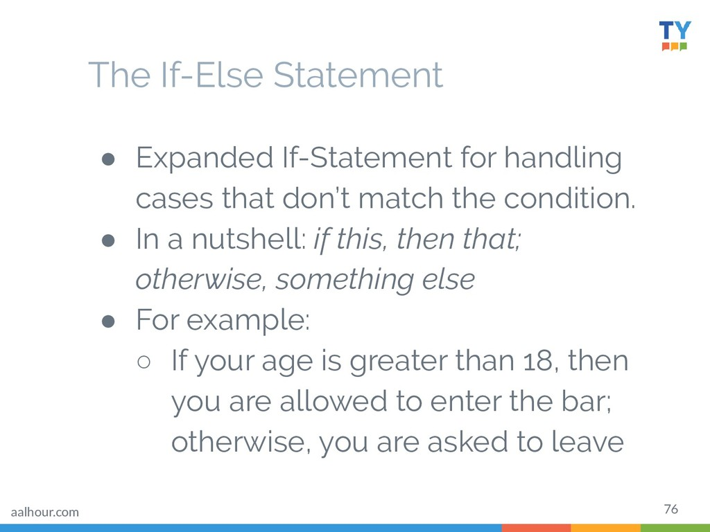 76 ● Expanded If-Statement for handling cases t...