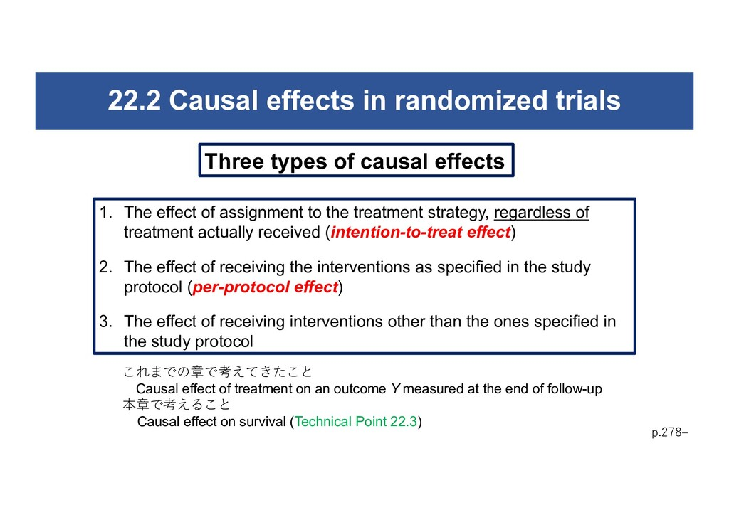 22.2 Causal effects in randomized trials p.278‒...