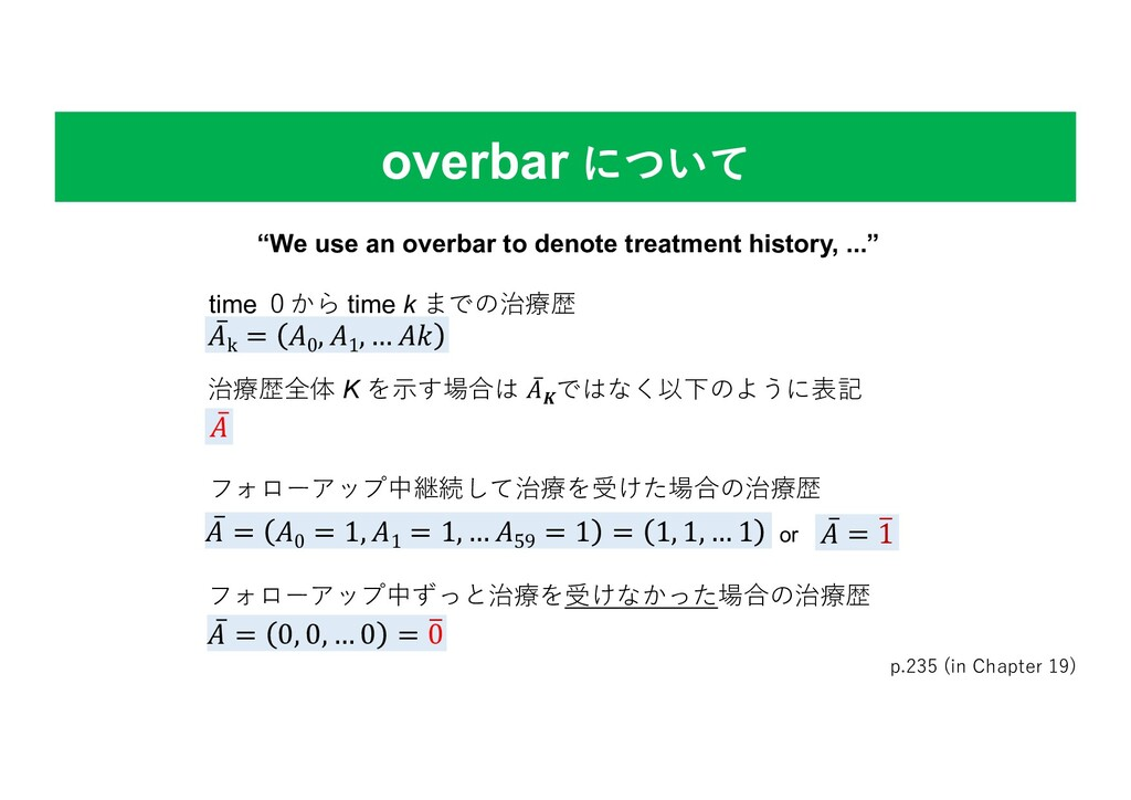 overbar について p.235 (in Chapter 19) time 0から tim...