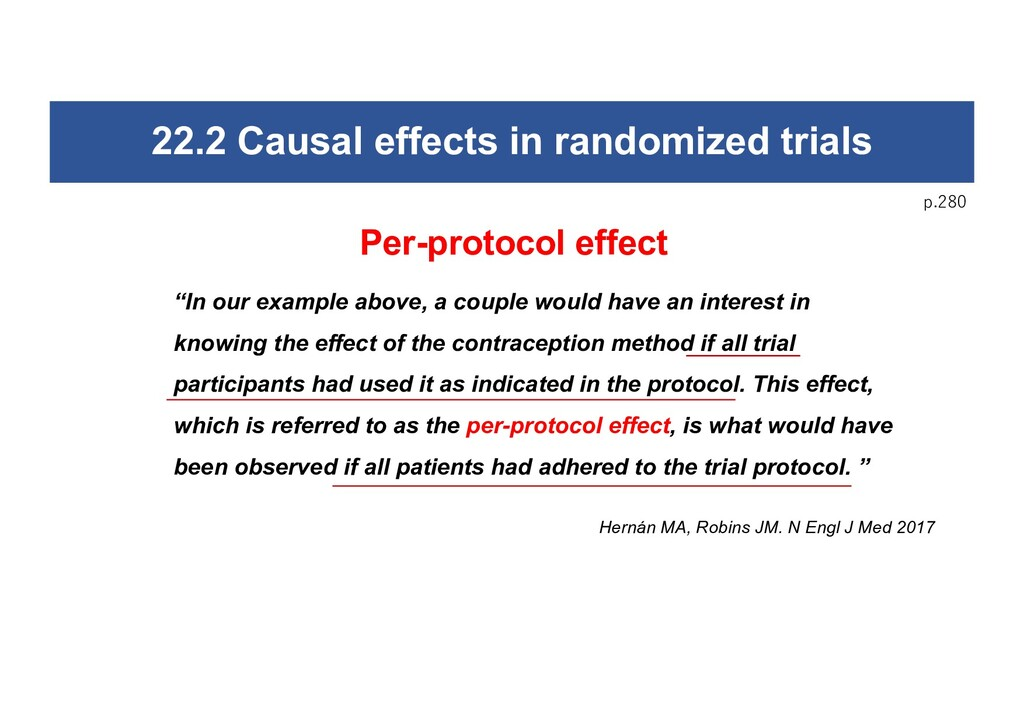 22.2 Causal effects in randomized trials p.280 ...
