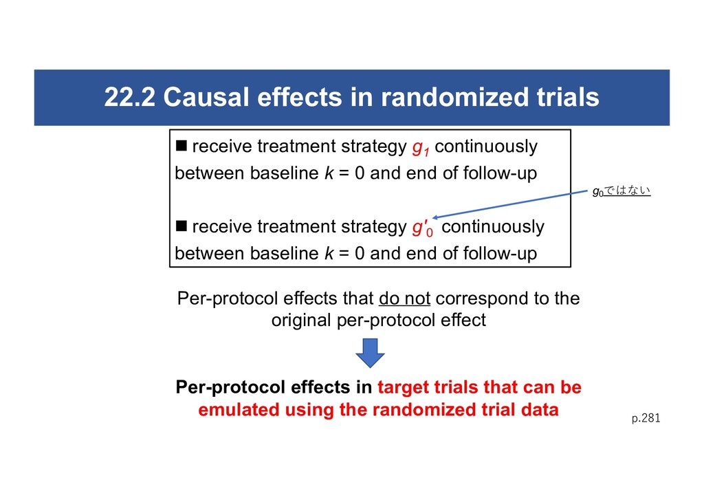 22.2 Causal effects in randomized trials p.281 ...