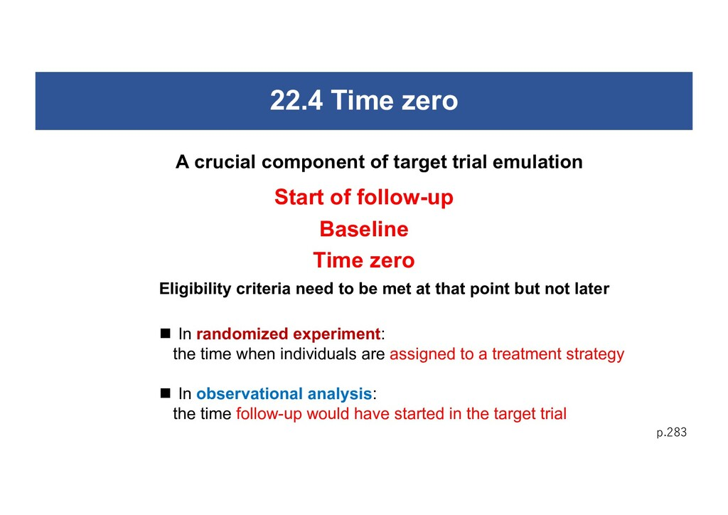 22.4 Time zero p.283 A crucial component of tar...