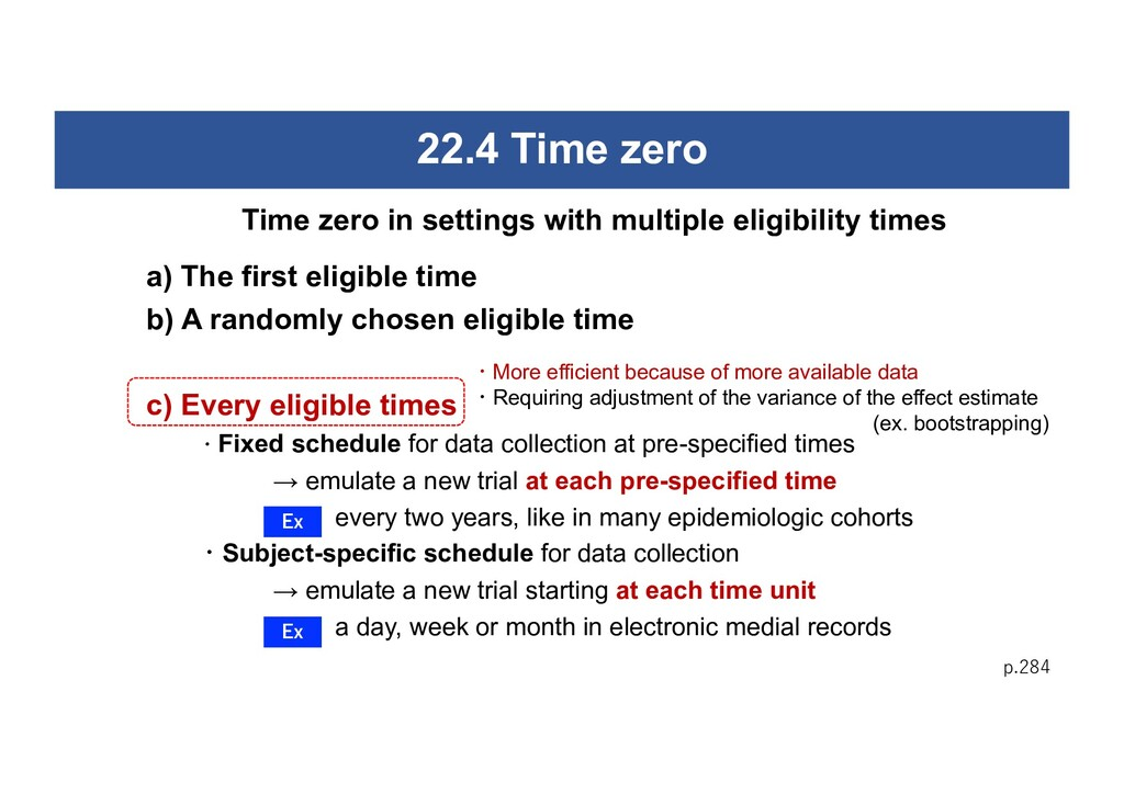 22.4 Time zero a) The first eligible time b) A ...