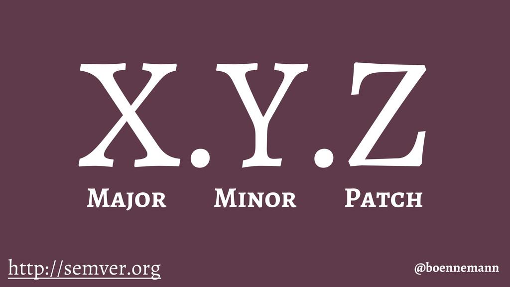 X.Y.Z @boennemann Major Minor Patch http://semv...