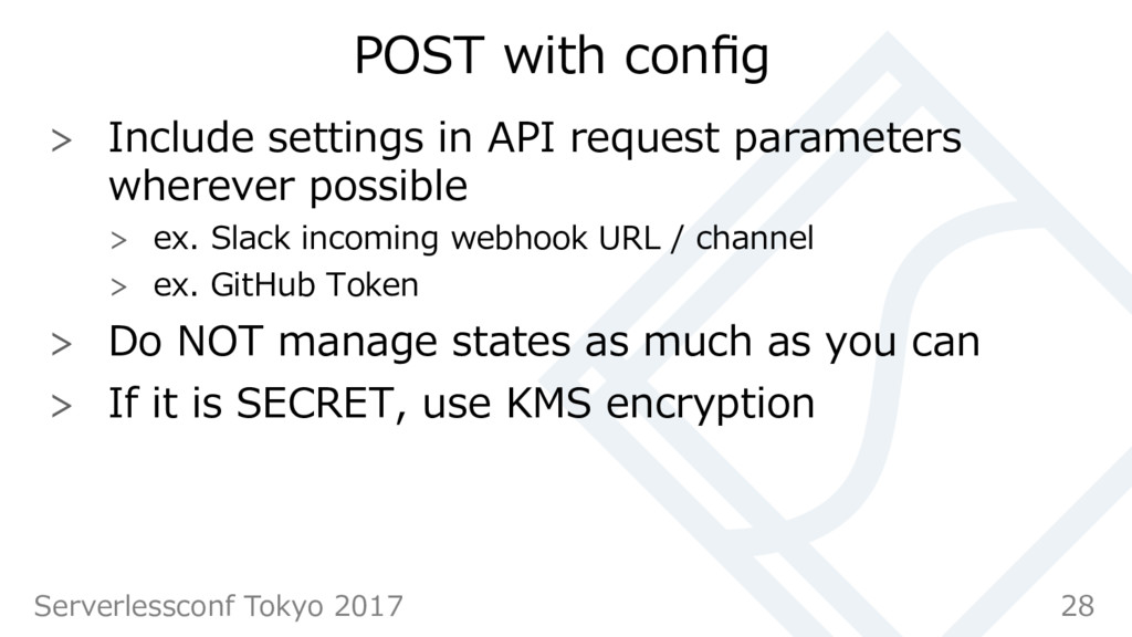 POST with config  Include settings in API requ...