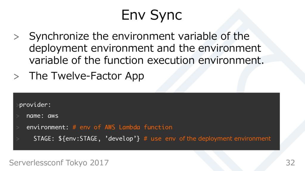 Env Sync  Synchronize the environment variabl...