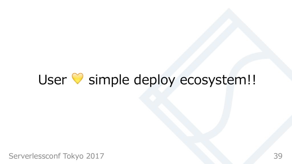 User  simple deploy ecosystem!! 39 Serverlessco...