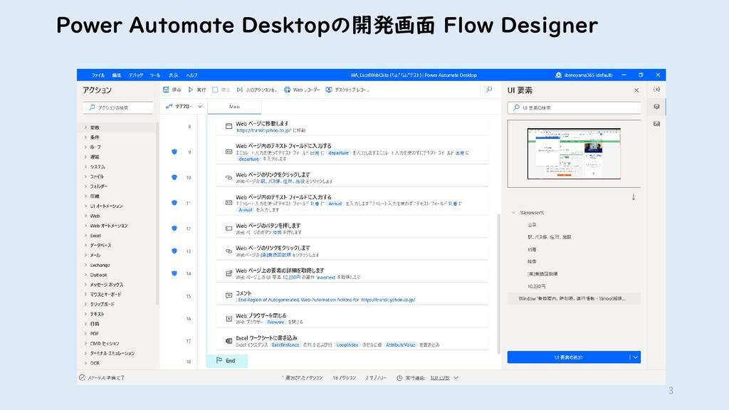 3 Power Automate Desktopの開発画面 Flow Designer
