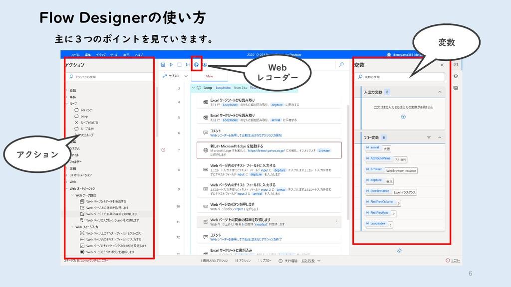 6 Flow Designerの使い方 主に3つのポイントを見ていきます。 アクション Web...