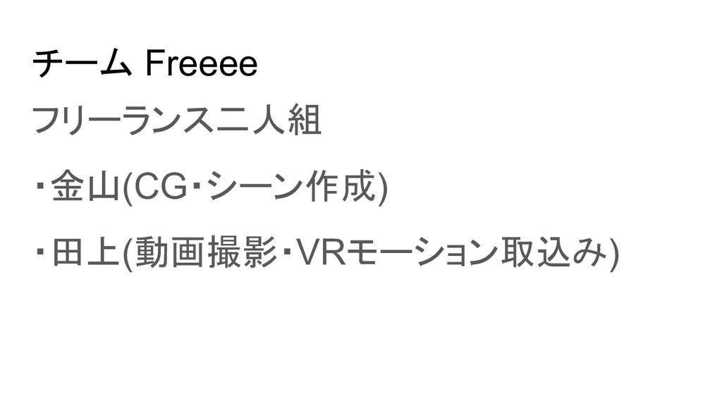 チーム Freeee フリーランス二人組 ・金山(CG・シーン作成) ・田上(動画撮影・VRモ...