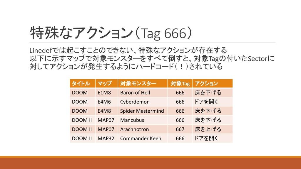 特殊なアクション(Tag 666) Linedefでは起こすことのできない、特殊なアクションが...