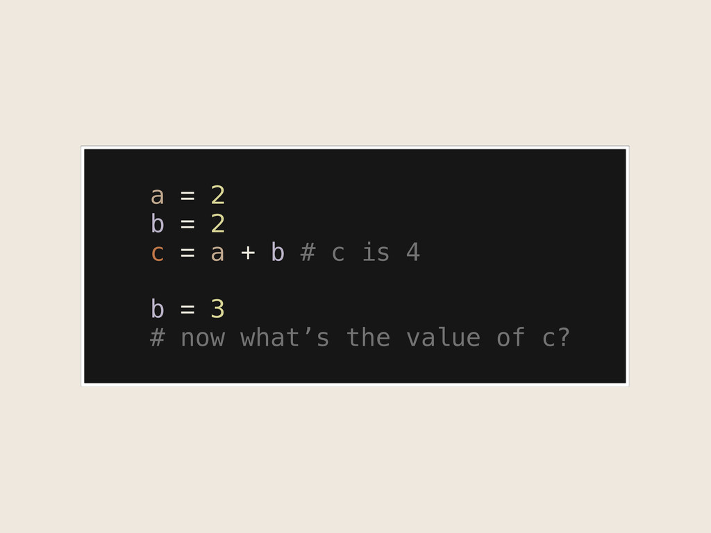 a = 2 b = 2 c = a + b # c is 4 b = 3 # now what...