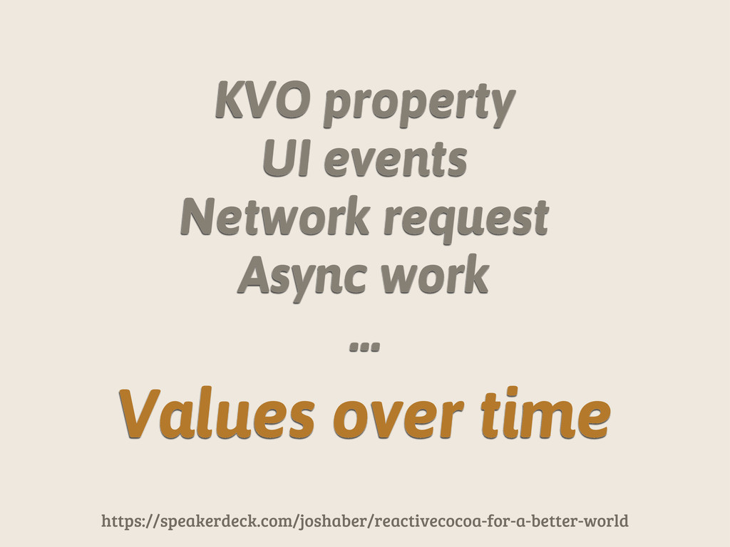 KVO property UI events Network request Async wo...