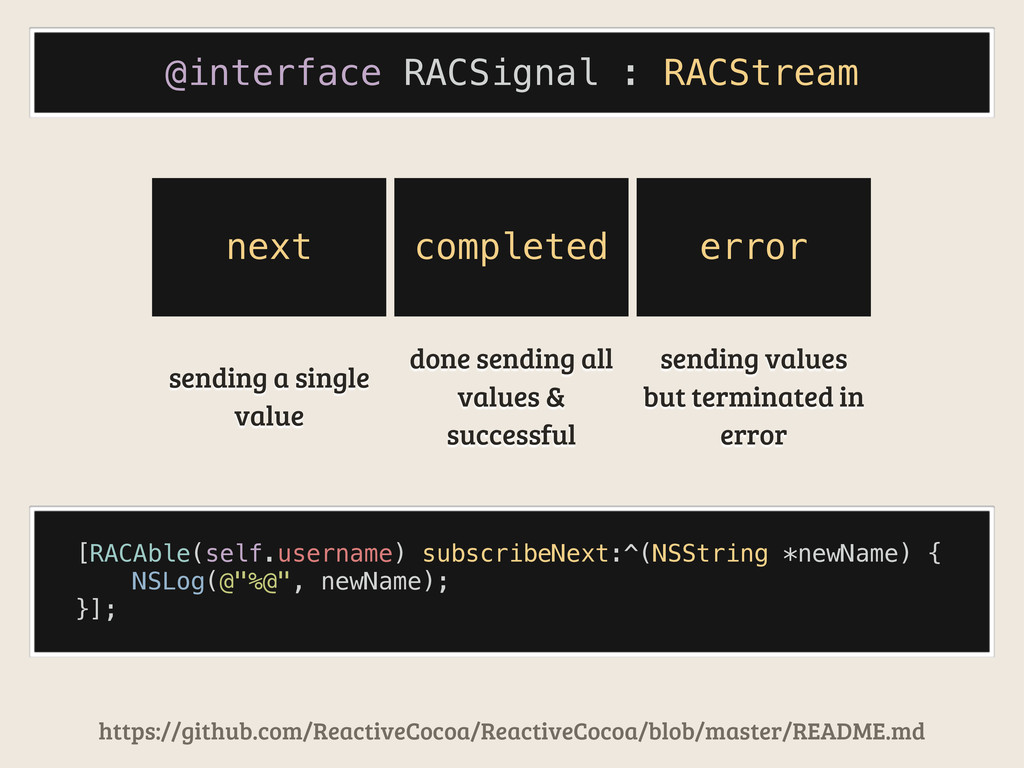 @interface RACSignal : RACStream [RACAble(self....