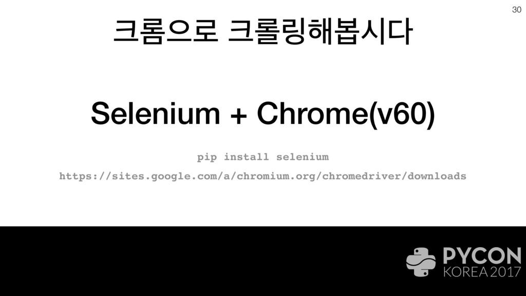 ܁ਵ۽ ܀݂೧ࠇद 30 Selenium + Chrome(v60) pip inst...