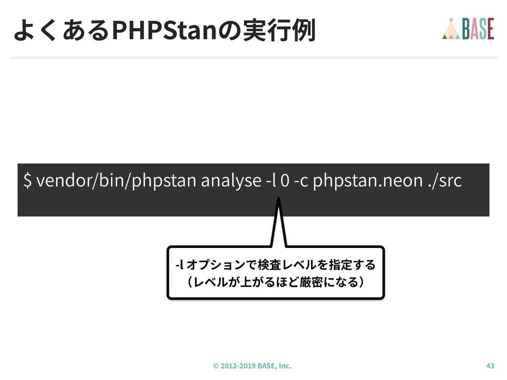 © - BASE, Inc. よくあるPHPStanの実⾏例 $ vendor/bin/php...