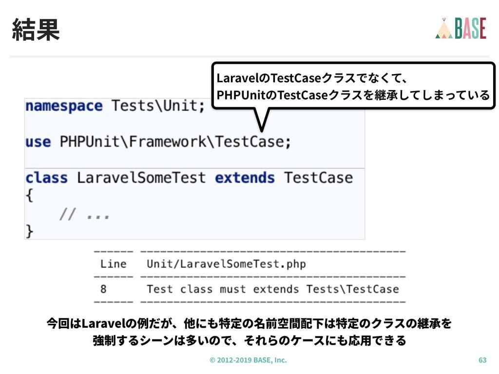 © - BASE, Inc. 結果 LaravelのTestCaseクラスでなくて、 PHPU...