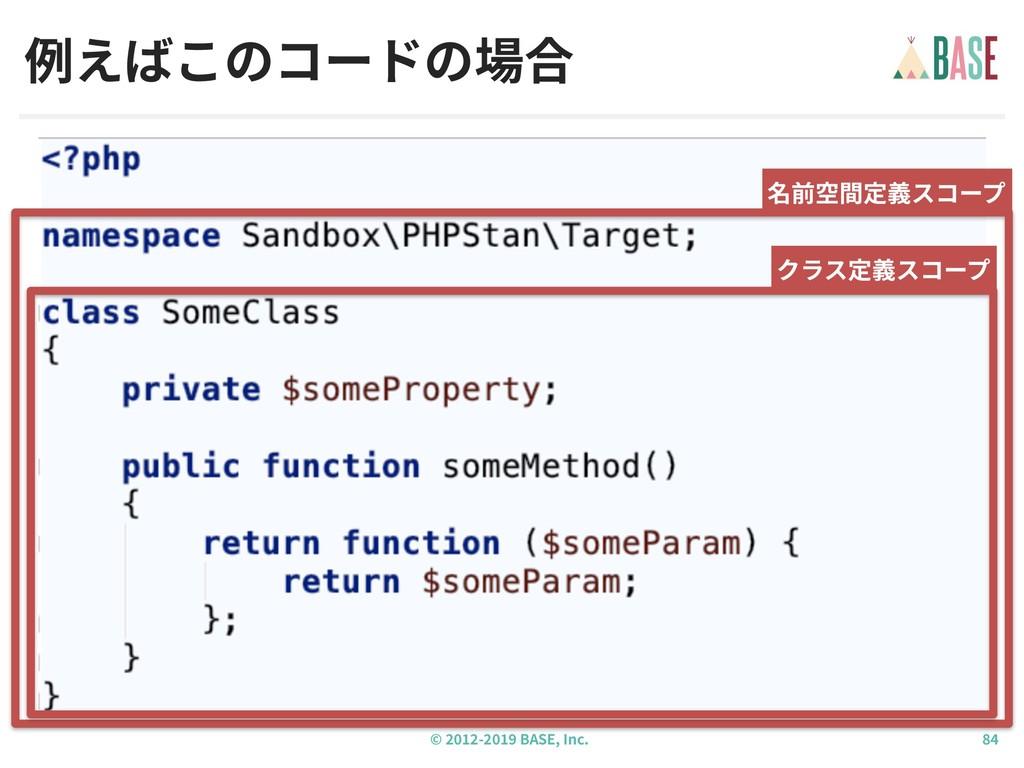 © - BASE, Inc. 例えばこのコードの場合 名前空間定義スコープ クラス定義スコープ