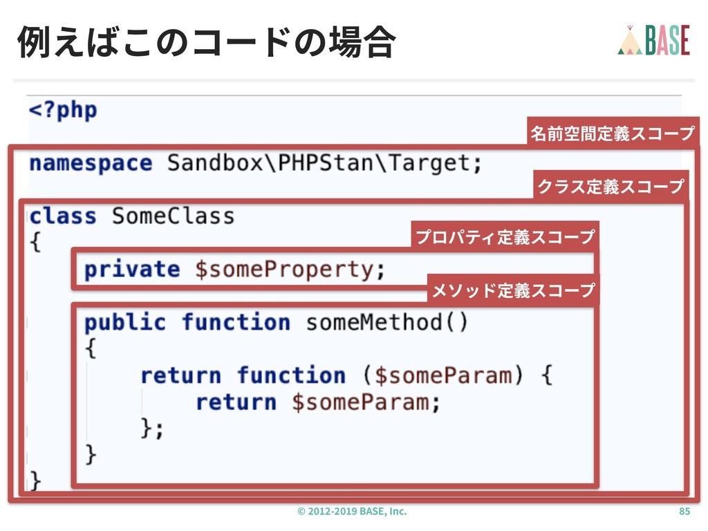 © - BASE, Inc. 例えばこのコードの場合 名前空間定義スコープ クラス定義スコープ...