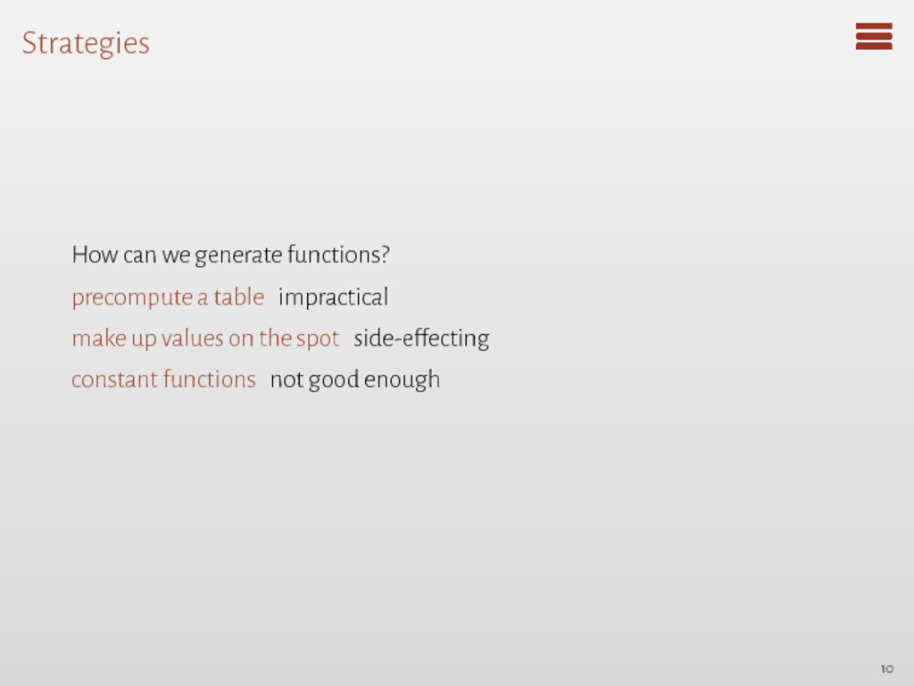 Strategies How can we generate functions? preco...