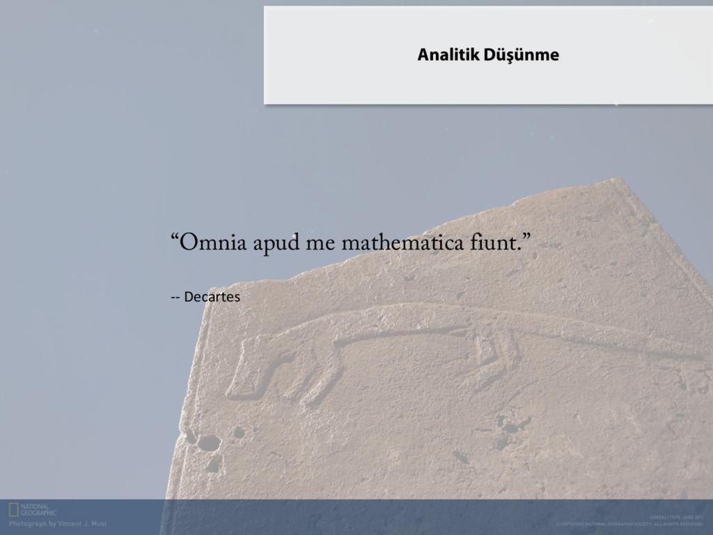 "Analitik Düşünme ""Omnia apud me mathematica fiu..."