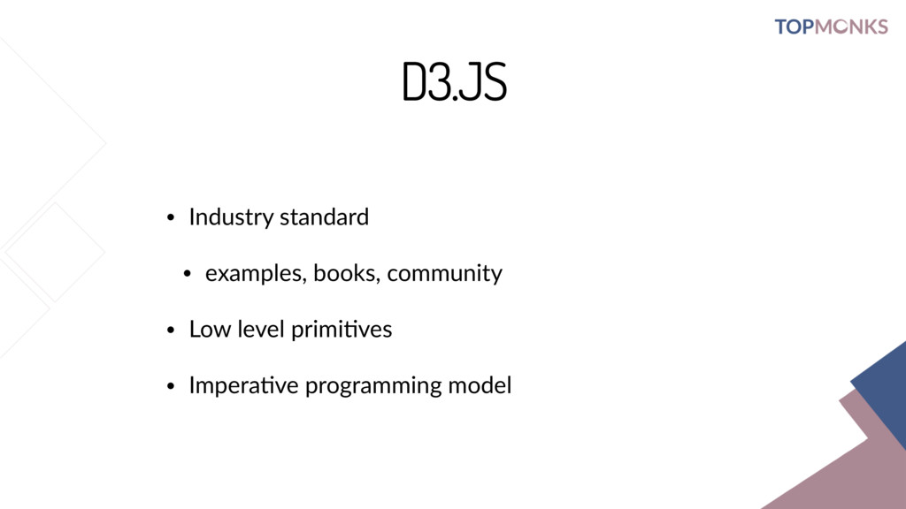 D3.JS • Industry standard • examples, books, co...