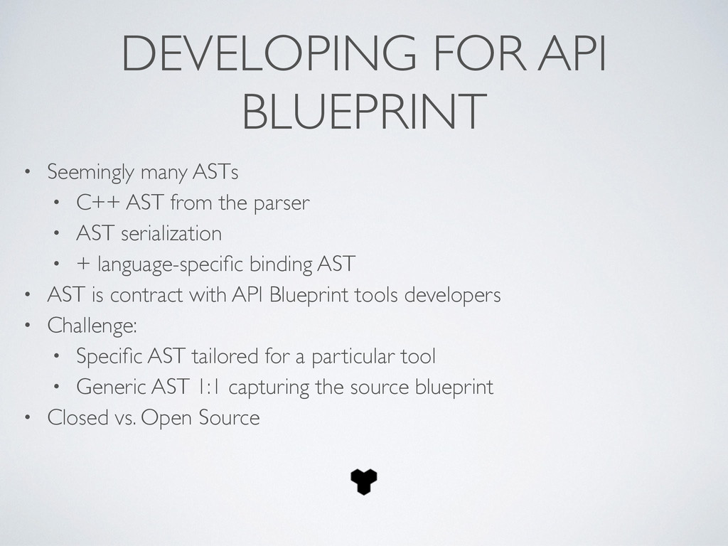 DEVELOPING FOR API BLUEPRINT • Seemingly many A...