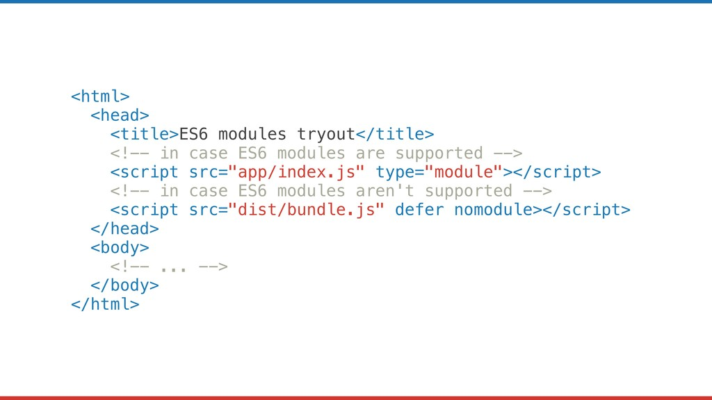 <html> <head> <title>ES6 modules tryout</title>...