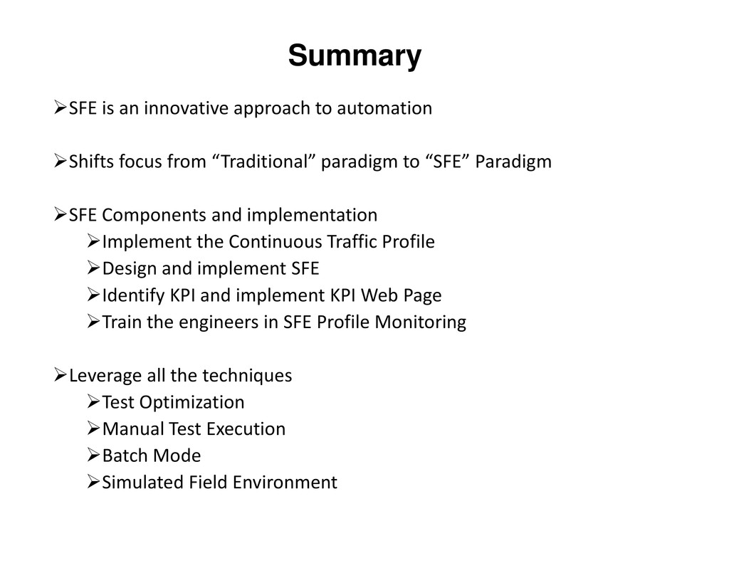 Summary SFE is an innovative approach to automa...