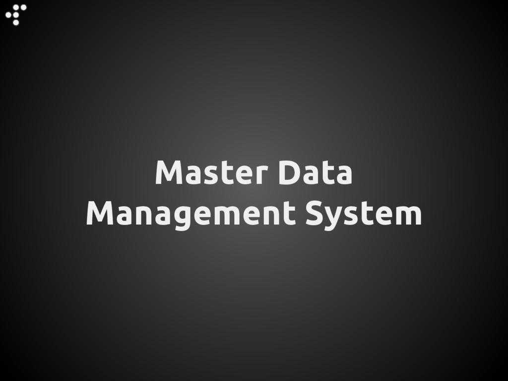Master Data Management System