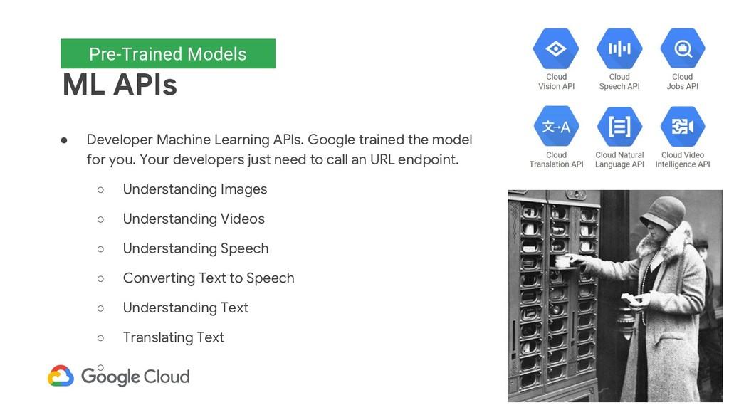 Pre-trained models ML APIs ● Developer Machine ...