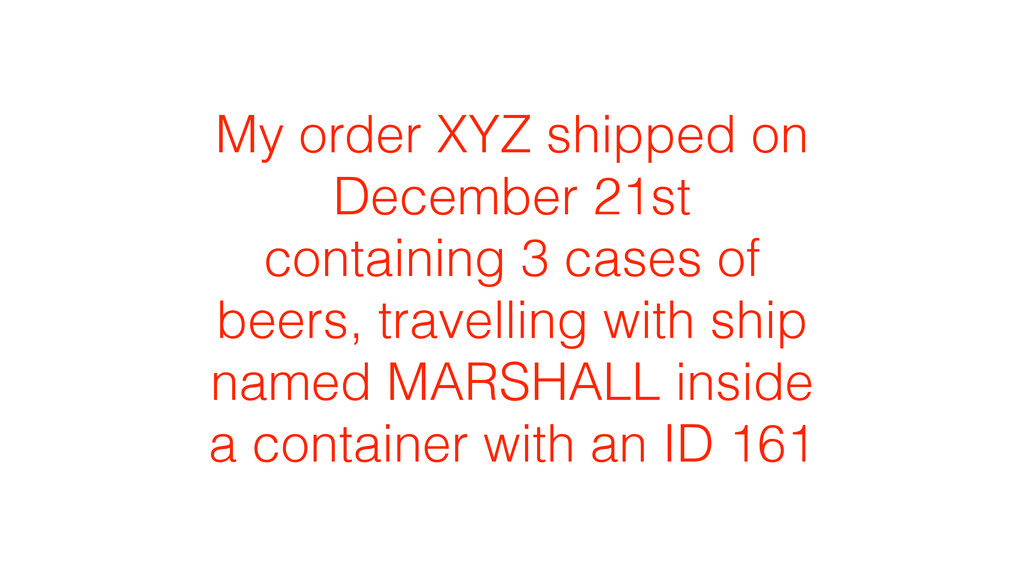 My order XYZ shipped on December 21st containin...