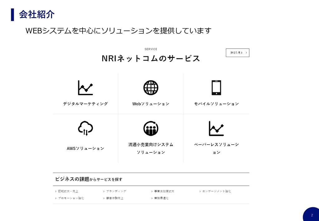 2 会社紹介 WEBシステムを中心にソリューションを提供しています