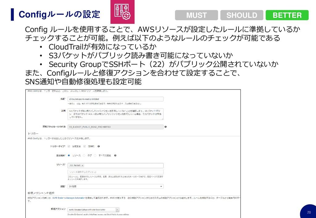 20 Configルールの設定 Config ルールを使用することで、AWSリソースが設定した...
