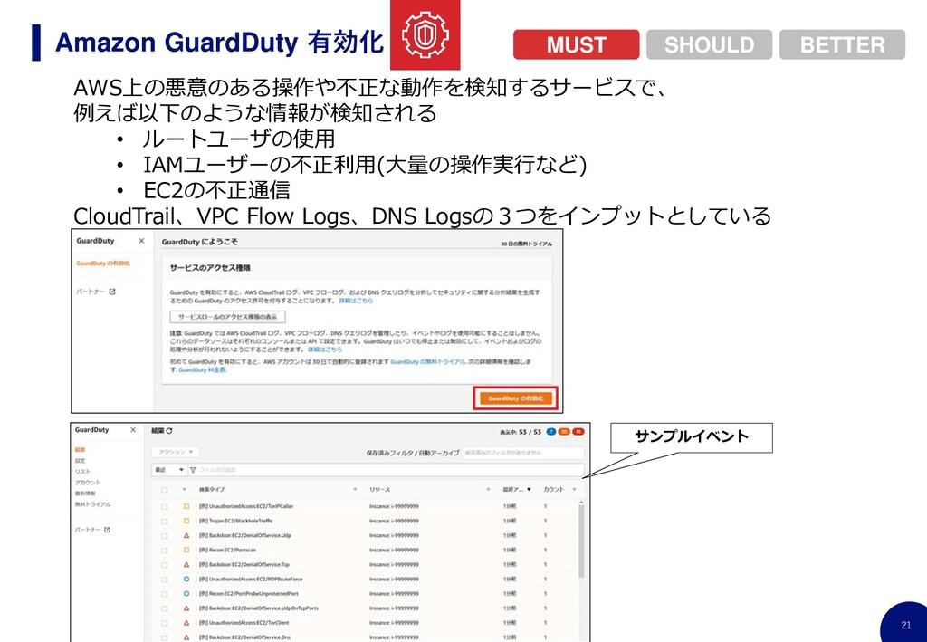21 Amazon GuardDuty 有効化 AWS上の悪意のある操作や不正な動作を検知する...