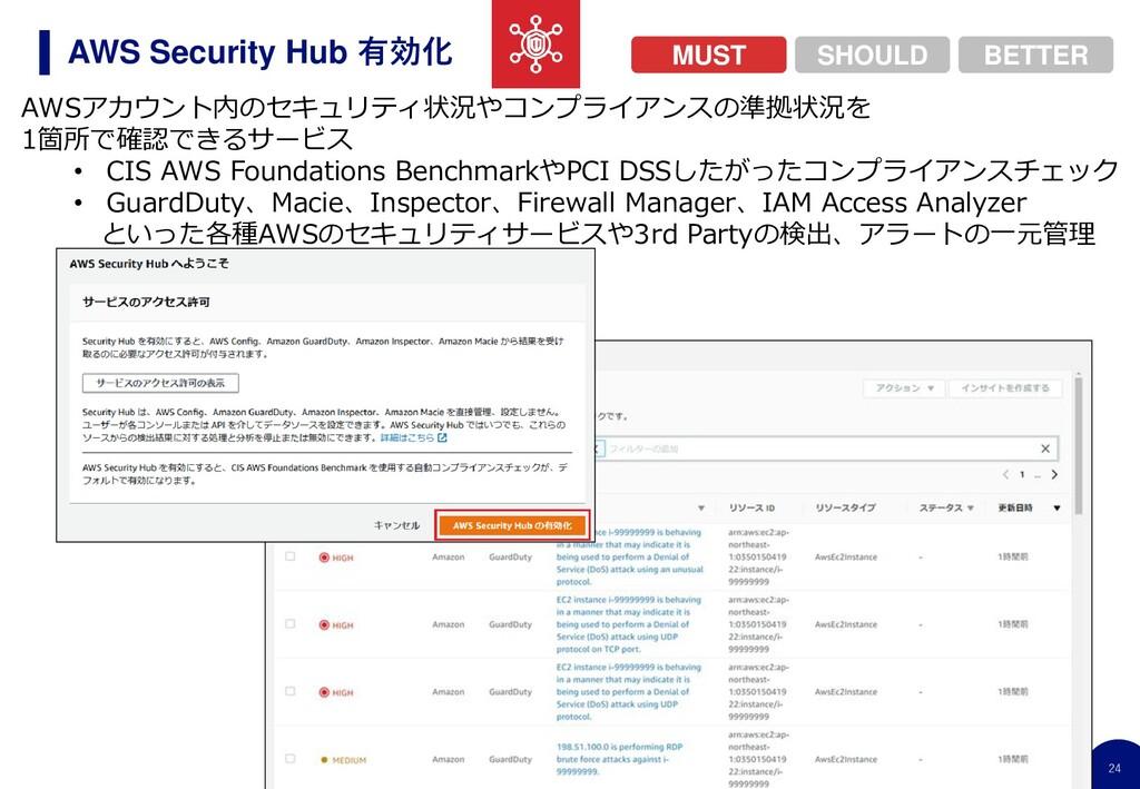 24 AWS Security Hub 有効化 AWSアカウント内のセキュリティ状況やコンプラ...